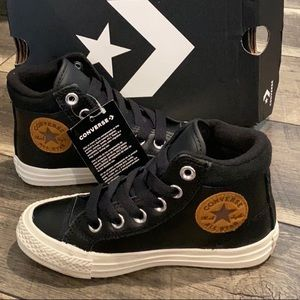 New Converse black leather hI top sneakers boys 12
